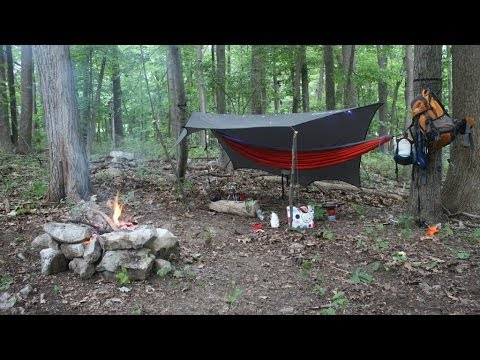 Hammock camping in the woods solo  YouTube