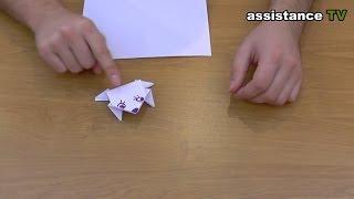 лягушка из бумаги Оригами Лягушка которая прыгает видео схема оригами для детей поделки из бумаги