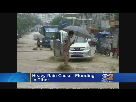 Heavy Rain Causes Flooding In Tibet
