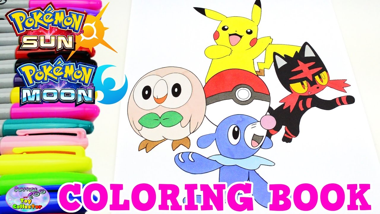 pokemon sun moon coloring book pikachu episode speed colouring surprise egg and toy collector setc youtube - Sun And Moon Coloring Pages
