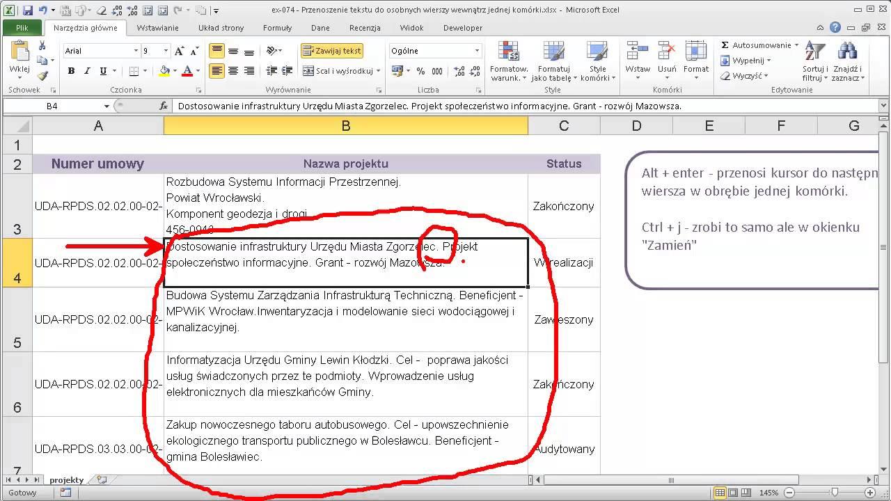 Excel 074 Przenoszenie Tekstu Do Osobnych Wierszy Wewnątrz Jednej Komórki
