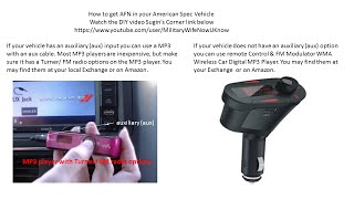 Getting AFN in your American Spec Vehicle