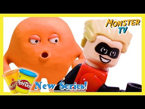 Play Doh Monsters RACE LEGO Incredibles Dash! | Play Doh Stop Motion Show | By Monster TV