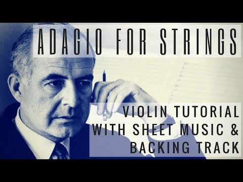 ADAGIO FOR STRINGS  EASY VIOLIN TUTORIAL with SHEET MUSIC