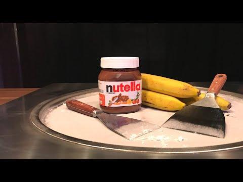 Ice Cream Rolls | Nutella, Banana and Oreo Cookies with Chocolate Sauce