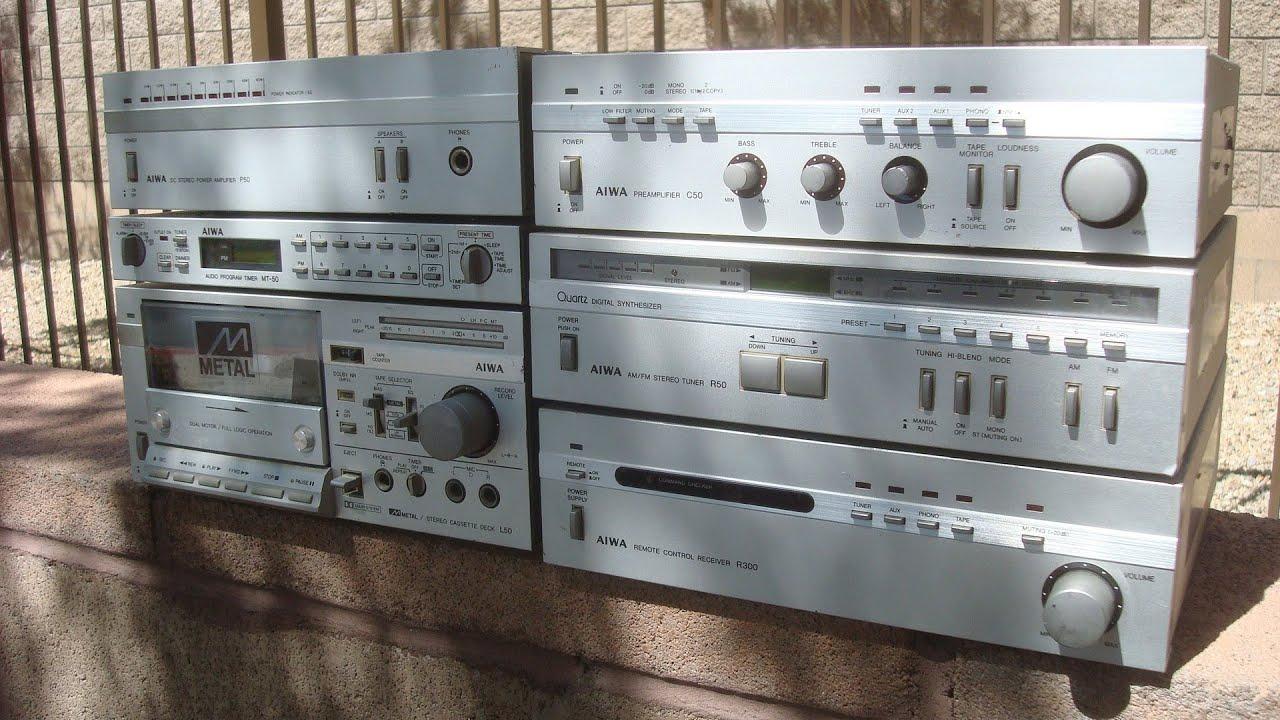 Aiwa Micro System P50 Amp C50 Pre Amp R50 Tuner Mt 50
