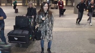 Natural Beauty Lily Collins Arrives In LA Makeup Free And With Hair Down