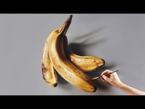 Bananas | Painting on canvas - How to Paint 3D Art