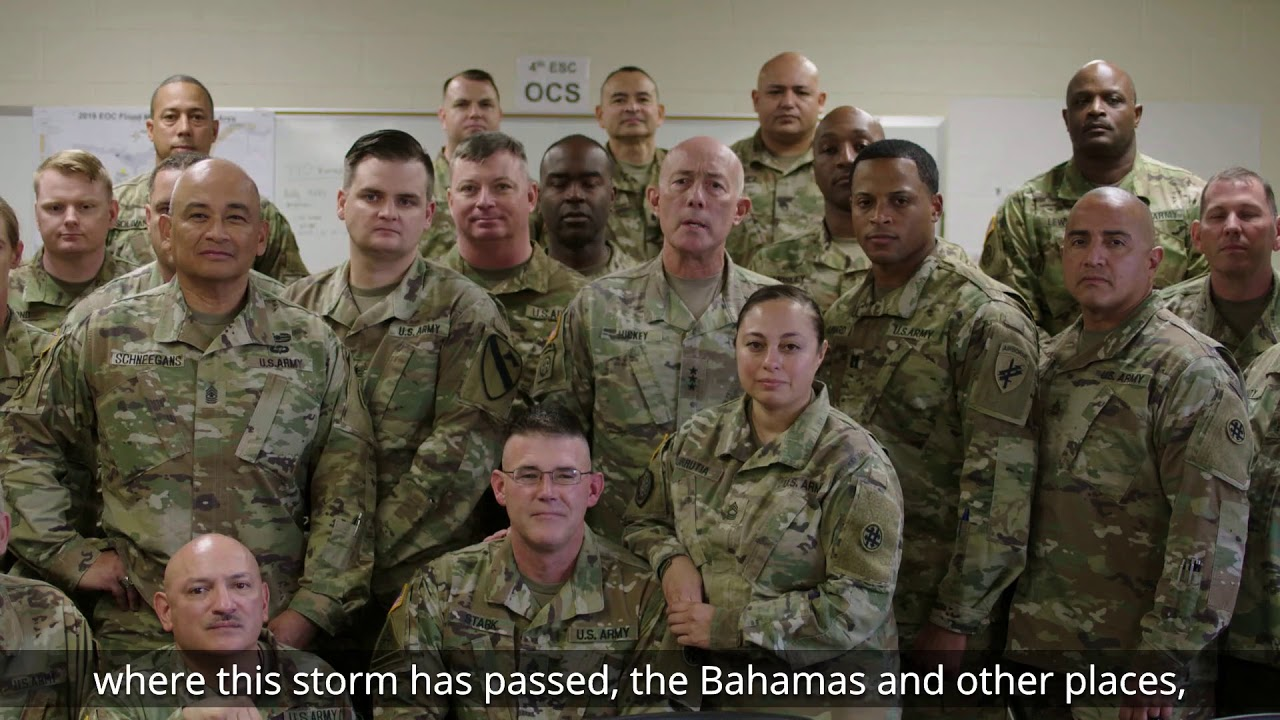 LTG Charles D. Luckey, Chief of Army Reserve and Commanding General, U.S. Army Reserve Command, and Soldiers with the 4th Sustainment Command (Expeditionary) are staged at Fort Jackson, South Carolina and ready to respond to Hurricane Dorian recovery efforts.