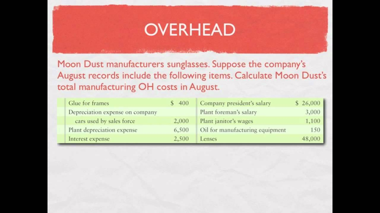 Managerial Accounting: Flow of costs in a Manufacturing Company,  Calculating Overhead - video