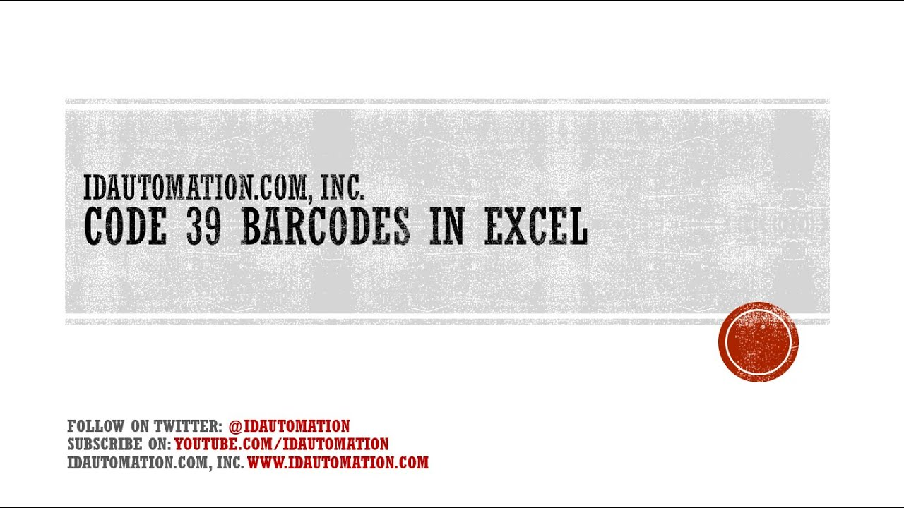 how to create code 39 barcodes in microsoft excel youtube