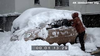 Extreme Sea Effect Snow In Japan, Buried Cars And Snow Clearing - 4K Stock Footage thumbnail