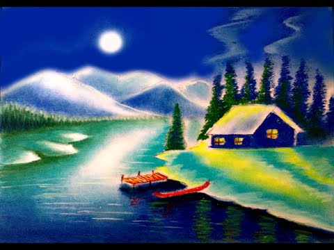how to draw moonlight scenery || night scene || landscape painting with soft pastel