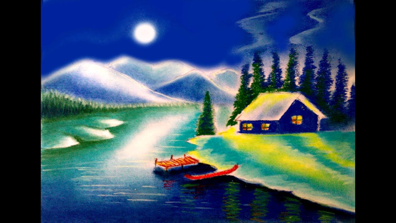 How To Draw Moonlight Scenery Night Scene Landscape Painting