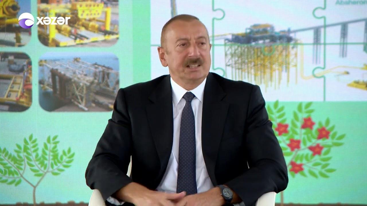 """Prezident """"Abşeron"""" yatağının dəniz əməliyyatlarının təməlqoyma mərasimində iştirak edib"""