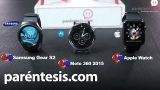 Enfrentamos Moto 360 2015 vs. Apple Watch vs. Samsung Gear S2(Para el siguiente versus de Paréntesis subimos al ring a los mejores representantes de cada sistema operativo: Android Wear, Watch OS y Tizen. Después de ..., 2016-01-30T18:37:12.000Z)