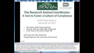 OLAW Online Seminar - The Research Animal Coordinator