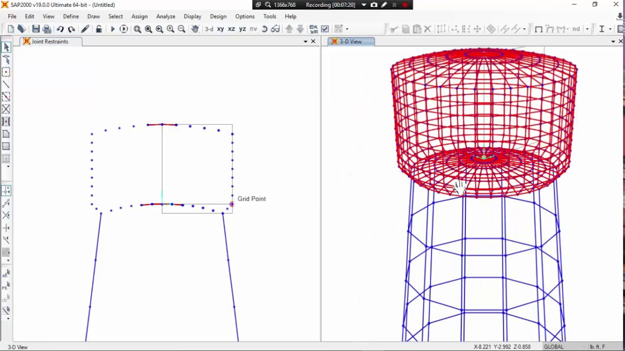 sap2000 class 9   MODELING OF STORAGE OVERHEAD WATER TANK  PART 1