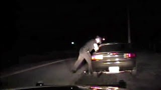 Trooper Attacks Terrified Woman on Lonely Road!