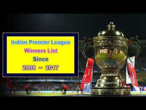 Indian Premier League Winners List Since 2008 - 2017 || IPL Winners List