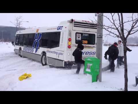 GRT Bus stuck in snow - Waterloo, ON - Feb 8, 2013