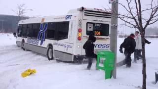 GRT Bus stuck in snow - Waterloo, ON - Feb 8, 2013