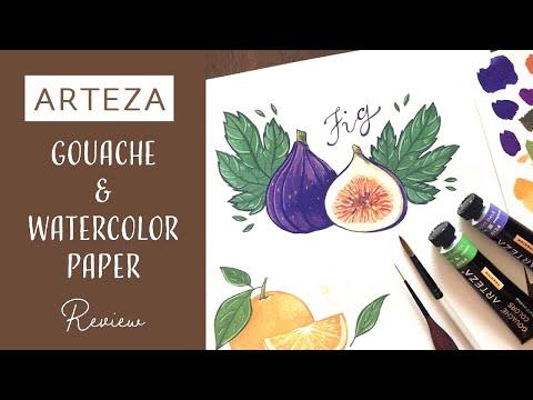 Arteza Gouache 24 Colors Set & Watercolor Paper // Review
