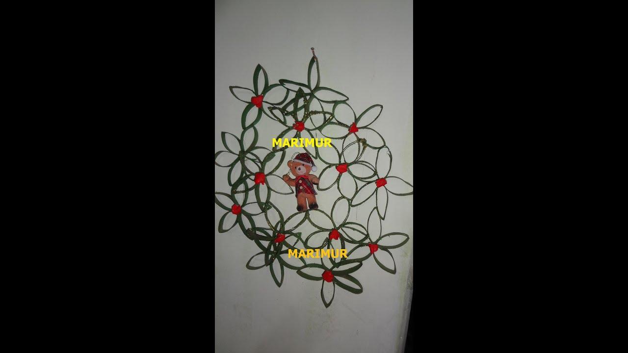 Como hacer corona navide a con cilindros de papel marimur - Como hacer coronas de navidad ...