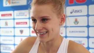 Patrycja Wyciszkiewicz (POL) after winning the gold in the 400m, Rieti 2013