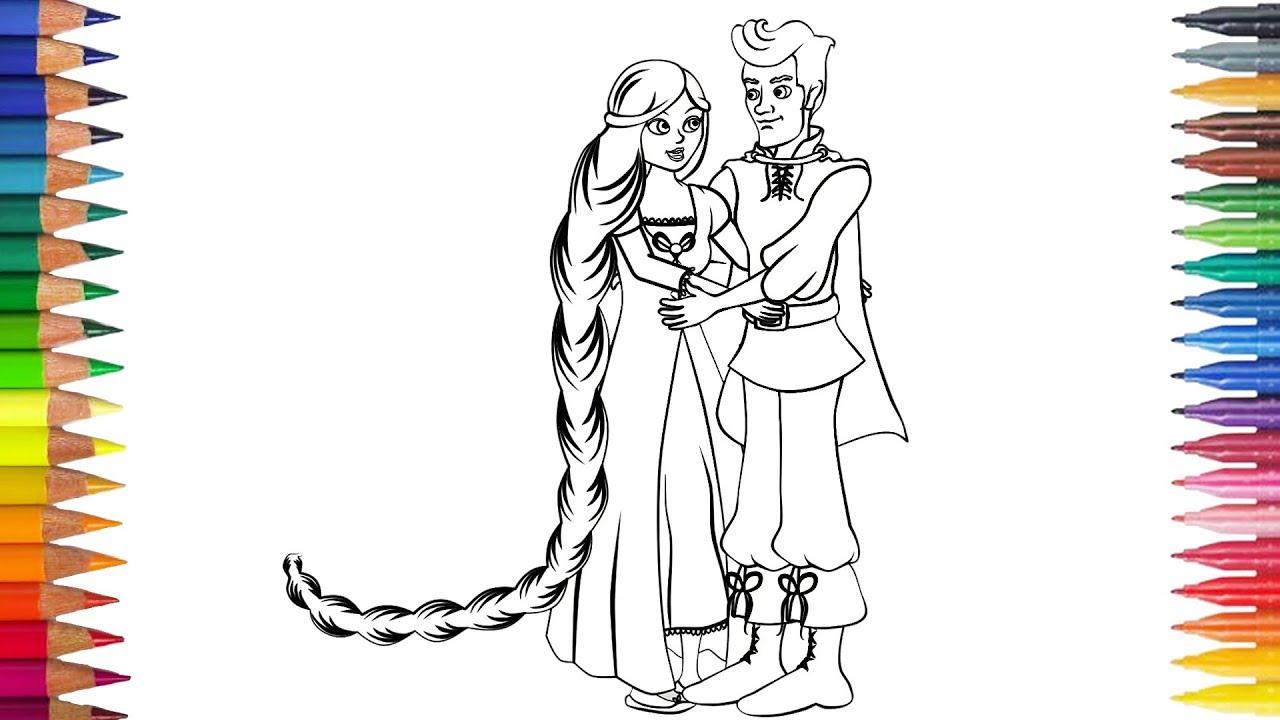 Rapunzel Dengan Pangeran Menggambar Dan Mewarnai