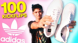 100 Kickflips In CANVAS SKATE SHOES  *adidas 3MC*
