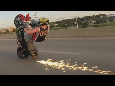 SCRAPE CITY - Illegal Motorcycle STUNTS + Street Bike WHEELIES B-4 BLOX STARZ Riding WHEELIE 2016