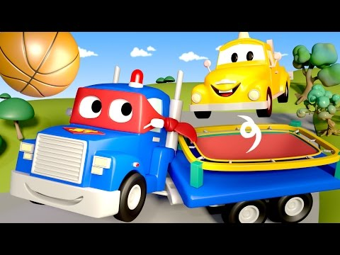 Carl the Super Truck is a TRAMPOLINE in Car City | Trucks Ca