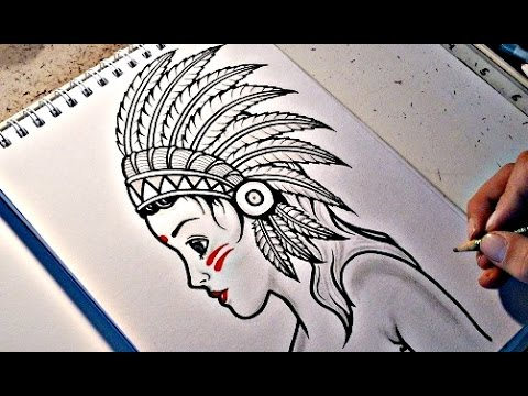 How To Draw a NATIVE AMERICAN GIRL