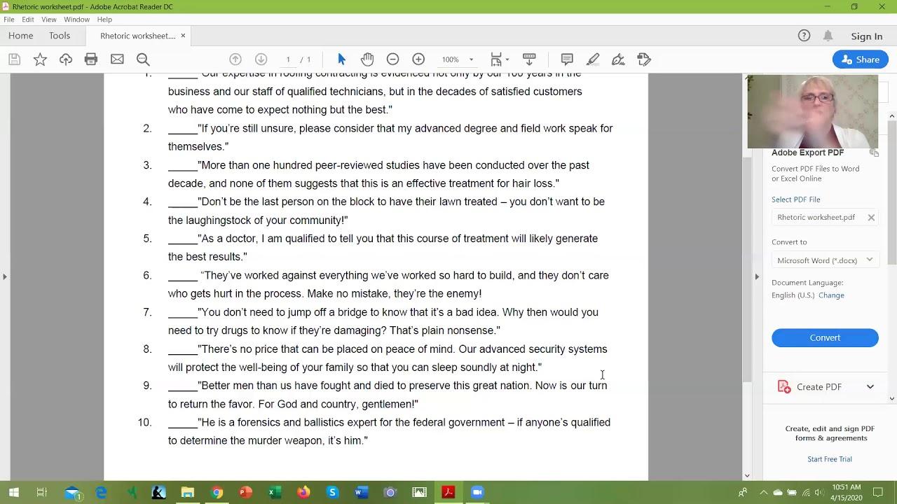 Rhetoric Worksheet 1 Answers   YouTube
