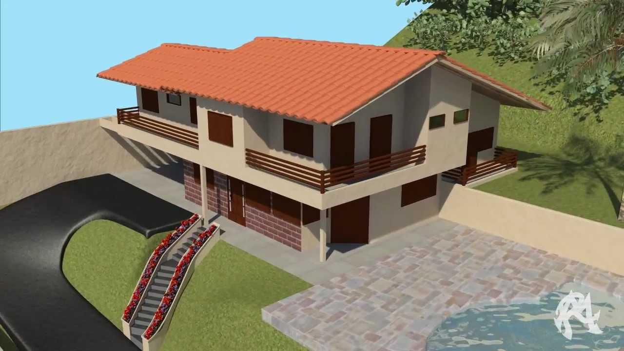 Vista 3d de projeto de casa residencial youtube for Crea casa 3d