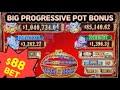 High Limit 3 reel 88 Fortunes Slot Machine $88 Bet MASSIVE Progressive JACKPOT at ParkMGM, Las Vegas