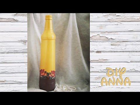 decoupage bottle DIY ideas decorations crafts tutorial