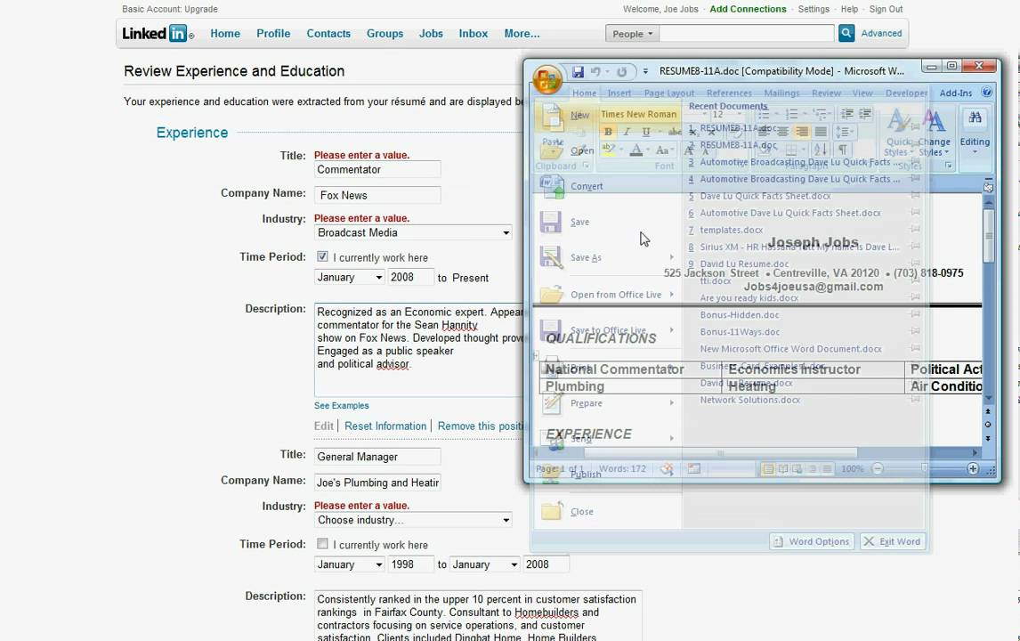 How to Import Your Resume to Your Linkedin Profile - David Lu - YouTube
