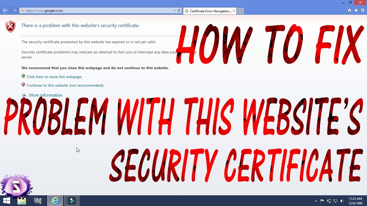 How To Fix Websites Security Certificate Error Youtube