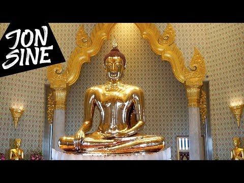 One Day in Bangkok - Wat Saket, Golden Buddha, Thai Street Food, Rooftop - Jon Sine Vlog #36