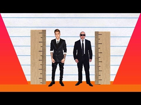 How Much Taller? - Justin Bieber vs Pitbull!