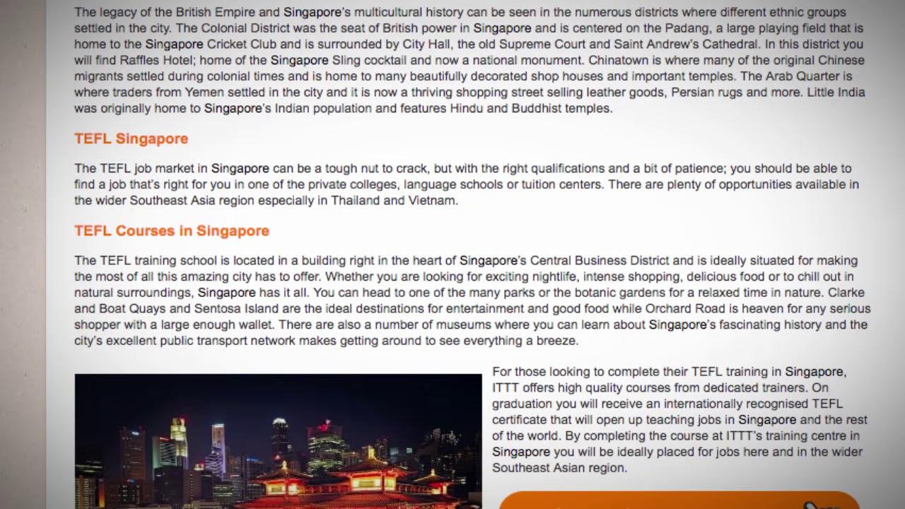 TEFL/TESOL Jobs in Singapore | International TEFL and TESOL Training (ITTT)