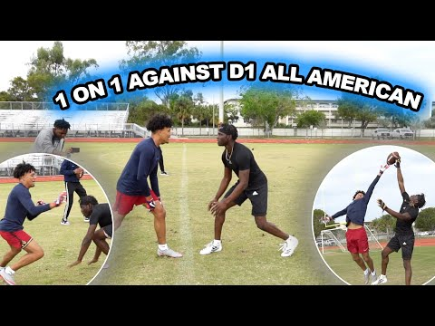 1 ON 1 AGAINST D1 ALL AMERICAN FOOTBALL PLAYER | WOAH !! thumbnail