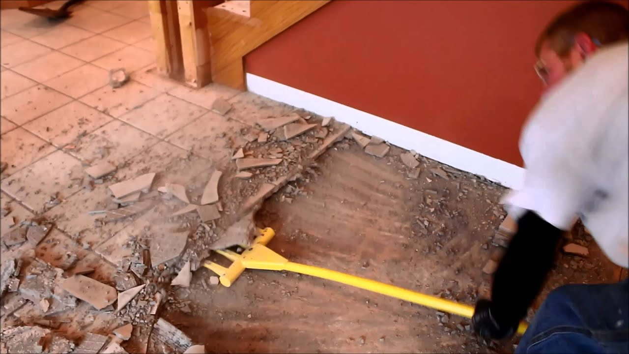 Demo fork tile and cement board removal - YouTube