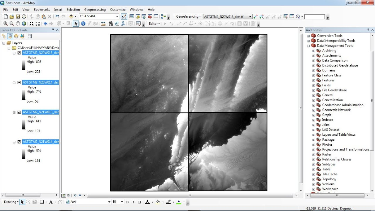 Arcgis : Merge the raster datasets /fusionner raster arcgis /Mosaic raster  dataset ArcGIS