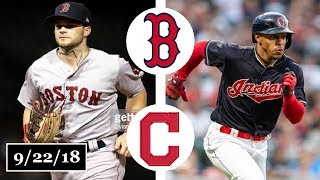 Boston Red Sox vs Cleveland Indians Highlights    September 22, 2018