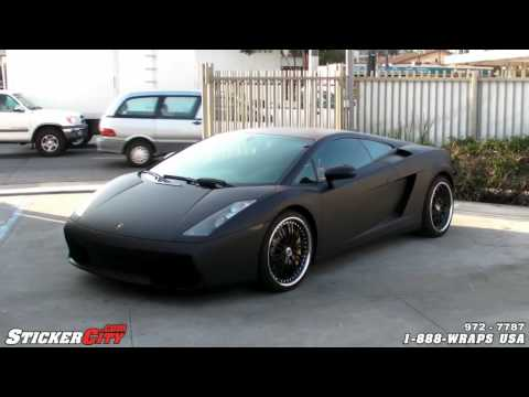 Matte Black Lamborghini Gallardo Wrapped with Vinyl