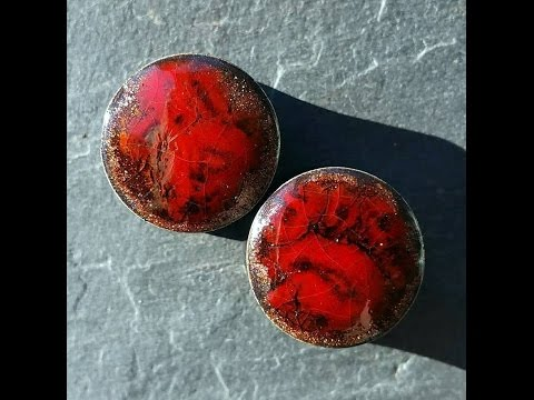 360°-view-pair-of-ruby-red-adventurine-glass-ear-plugs-gauges-tunnels