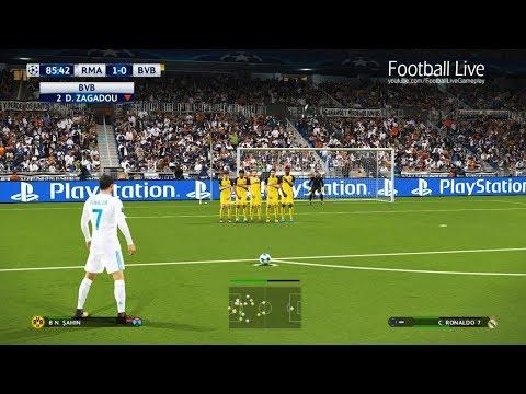 PES 2018   Real Madrid vs Borussia Dortmund   C.Ronaldo Free Kick Goal   UEFA Champions League (UCL)